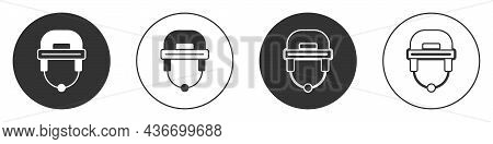 Black Hockey Helmet Icon Isolated On White Background. Circle Button. Vector
