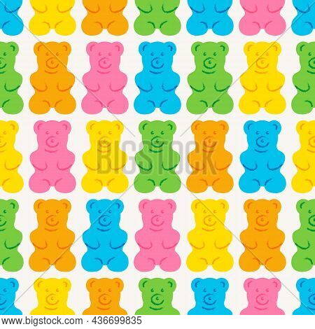 Gummy Bear Seamless Pattern. Sweet Jelly Candy Background. Colorful Tasty Vector Illustration.