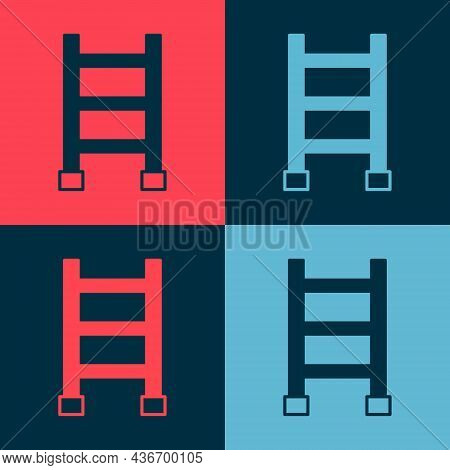 Pop Art Fire Escape Icon Isolated On Color Background. Pompier Ladder. Fireman Scaling Ladder With A