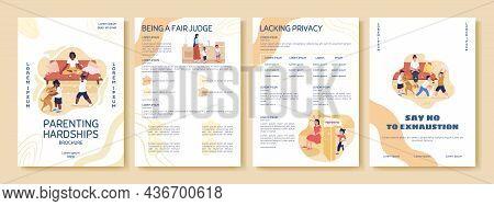 Parenting Hardship Flat Vector Brochure Template. Flyer, Booklet, Printable Leaflet Design With Flat
