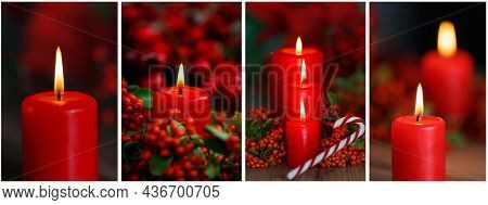 Decorative christmas composition from red candle with red berries and a candy cane