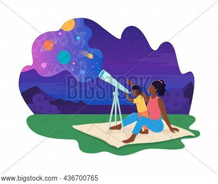 Space Observation 2d Vector Isolated Illustration. Parent With Child Stargaze. Family Watching Stars