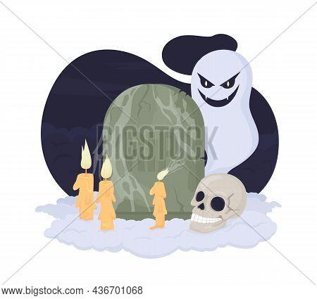 Tombstone Spooky Decor For Halloween 2d Vector Isolated Illustration. Fall Season Creepy Holiday Dec