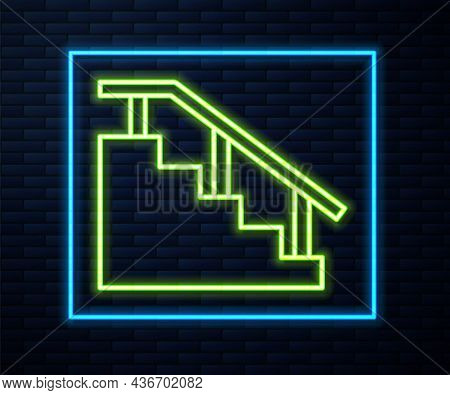 Glowing Neon Line Skateboard Stairs With Rail Icon Isolated On Brick Wall Background. Vector