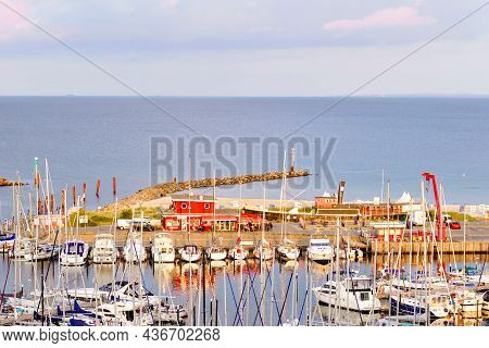 View On Harbor Of German Touristic City Resort Damp On Baltic Sea. Panoramic View On Sailing Boats.