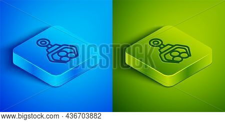 Isometric Line Grapple Crane Grabbed A Log Icon Isolated On Blue And Green Background. Forest Indust