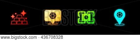 Set Gold Bars, Gem Stone, Dynamite And Icon. Vector