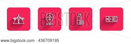 Set Line Plane, , No Water Bottle And Airline Ticket With Long Shadow. Red Square Button. Vector