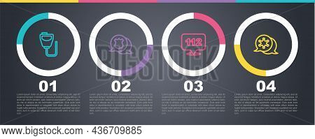 Set Line Walkie Talkie, Police Badge, Telephone Call 112 And Hexagram Sheriff. Business Infographic
