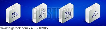 Set Isometric Line Skate Park, Longboard Or Skateboard, Skateboard Stairs With Rail And Icon. Vector