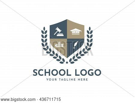 Bachelor Hat, Leaf, Book, Or Crown Icons. Vector Golden Wreath Logo Template. Beautiful Badge Design