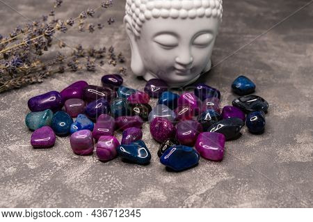 Feng Shui Altar At Home In Living Room. Attracting Wealth, Prosperity Concept. Crystal Clusters. Bud