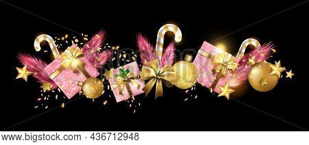 Christmas Holiday Winter Background, Vector Winter X-mas Greeting Border, Golden Confetti, Stars. De