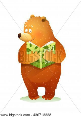 Bear Reading A Book Story Or Fairy Tale About Forest, Cute Baby Animal Studying. Vector Bear Cub Fan