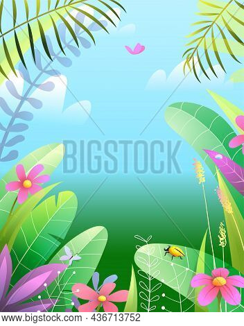 Tropical Nature Paradise Background Cartoon. Peaceful And Serene Summer Landscape With Leaves Flower