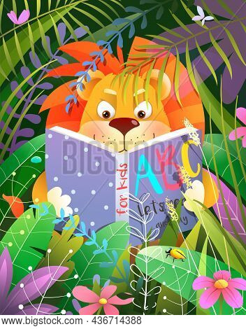 Lion Reading A Book Story Or Fairy Tale In Tropical Forest, Cute Baby Animal Studying In Jungle. Vec