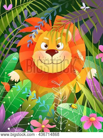 Little Baby Lion In Forest Jungle, Coming Out From Leaves And Grass, Curious And Happy Smiling . Vec