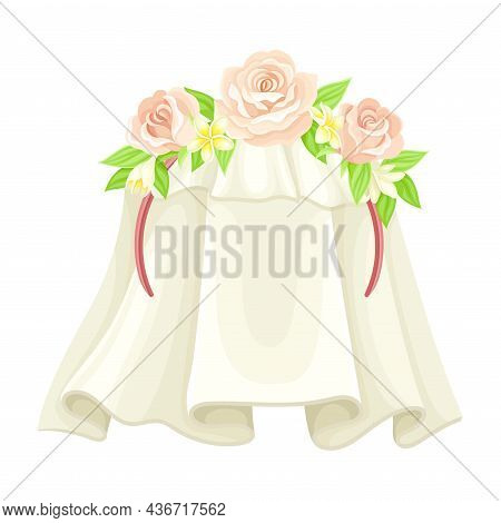 Wedding Or Bridal White Veil Decorated With Pink Rose Flower Closeup Vector Illustration