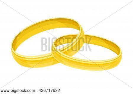 Pair Of Wedding Golden Ring Closeup Vector Illustration