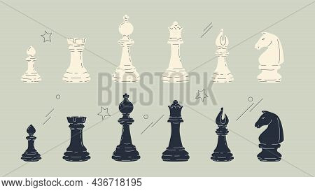 Chess Pieces Object Set. Vector Illustrations Of Black And White Chess Figures Isolated On Grey Back