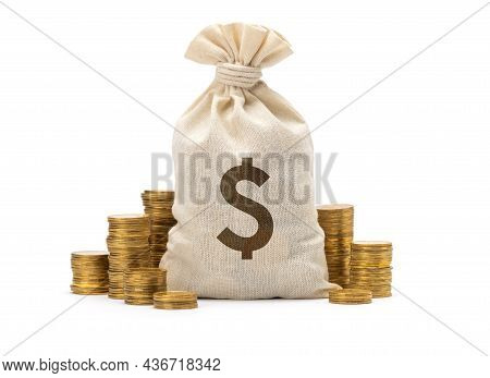 Money Bag With Dollar Sign And Stack Of Coins. Isolated On White Background