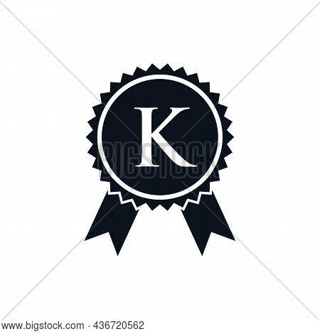 Winner Award Certified Medal Badge On K Logo Template. Best Seller Badge Sign Logo Design On Letter