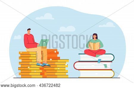 Tiny Girl Sitting On Books And Reading While Boy Using Laptop. Ebook And Paper Book Comparison Flat