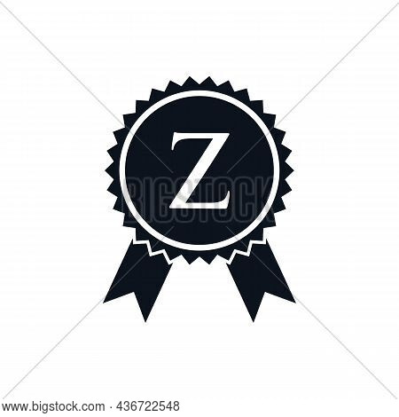 Winner Award Certified Medal Badge On Z Logo Template. Best Seller Badge Sign Logo Design On Letter