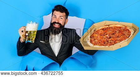Restaurant Or Pizzeria. Smiling Man With Pizza And Beer Looking Through Paper Hole. Italian Food. Pi