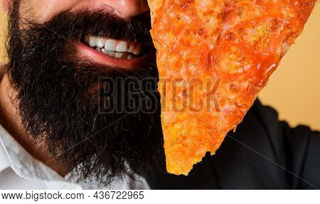Pizzeria. Bearded Man With Slice Of Pizza. Italian Cuisine. Delicious Fast Food.