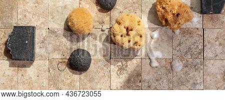 Bamboo Charcoal Bathroom Accessories - Konjac Bamboo Charcoal Black Sponge, Handmade Black Soap And