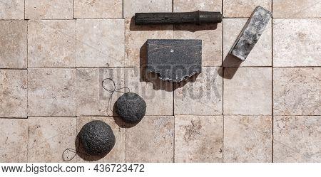 Bamboo Charcoal Bathroom Accessories - Konjac Bamboo Charcoal Black Sponges, Bamboo Charcoal Stick A