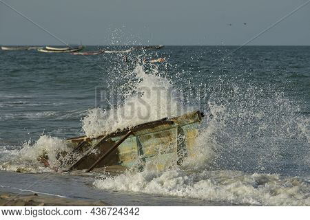 West Africa. Mauritania. Sea Water Splashes From The Impact Of Coastal Waves On The Side Of The Rema