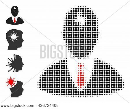 Dotted Halftone Boss Headache Icon, And Additional Icons. Vector Halftone Collage Of Boss Headache I