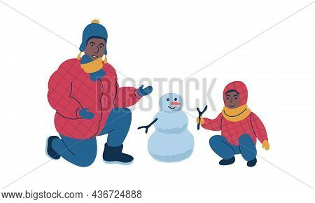 Parent Making A Snowman Together With Child During Winter Time. Isolated Vector Illustration.