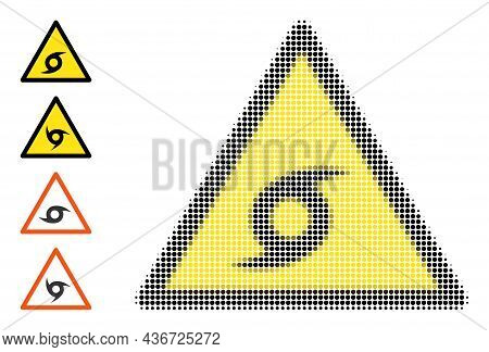 Dotted Halftone Typhoon Danger Icon, And Additional Icons. Vector Halftone Concept Of Typhoon Danger