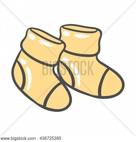 Illustration Of Baby Socks. Clothes For Newborn. Happy Birthday Image. Holiday Baby Shower Simbol.