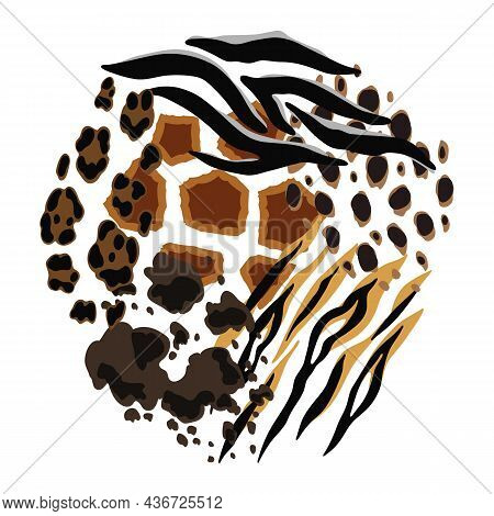 Background With Decorative Animal Print. African Savannah Fauna Stylized Ornament, Fur Texture.