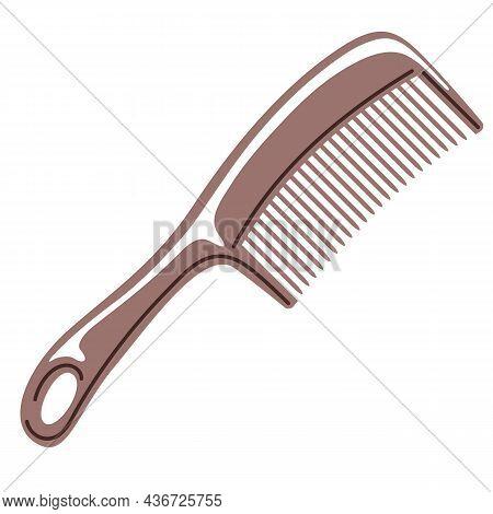 Barber Illustration Of Professional Hair Comb. Hairdressing Item.