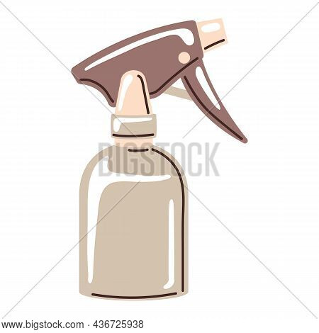 Barber Illustration Of Professional Hairdresser Spray For Water. Hairdressing Item.