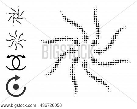 Pixelated Halftone Anticyclone Rotation Arrows Icon, And Other Icons. Vector Halftone Pattern Of Ant