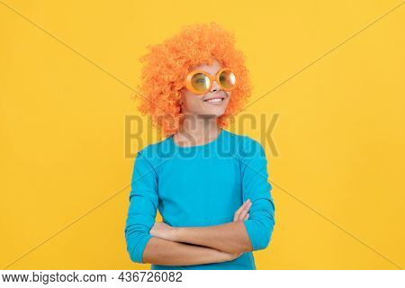 Cheerful Selfish Child Girl In Curly Wig And Party Glasses, Selfishness