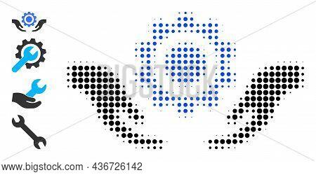 Pixel Halftone Repair Service Hands Icon, And Bonus Icons. Vector Halftone Concept Of Repair Service