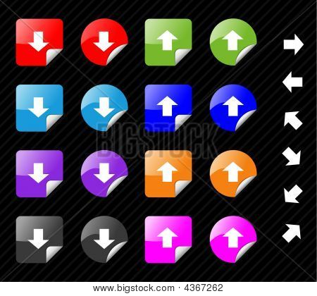 Collection Of Multi Colored Vector Sticky Icons With Arrows For Directions. Easy To Edit, Any Size.