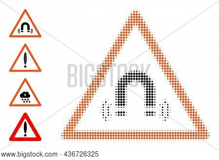 Pixel Halftone Magnet Field Warning Icon, And Original Icons. Vector Halftone Pattern Of Magnet Fiel