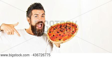 Smiling Bearded Man With Pizza. Pizzeria. Lunch. Snack. Fast Food. Pizza Delivery. Copy Space.