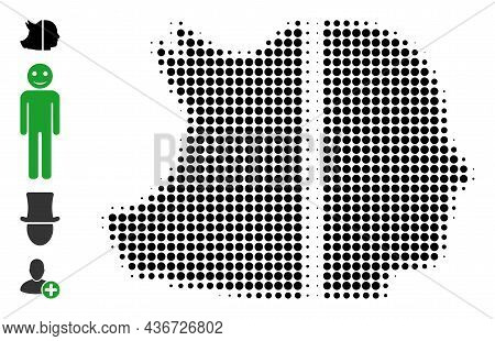 Dotted Halftone Dual Pig Man Icon, And Bonus Icons. Vector Halftone Concept Of Dual Pig Man Symbol C