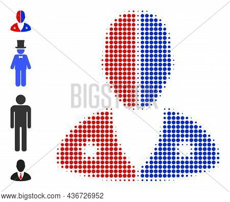Dot Halftone American Man Icon, And Bonus Icons. Vector Halftone Mosaic Of American Man Icon Constru