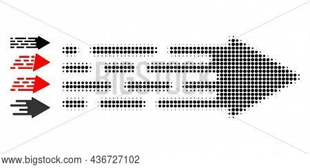 Pixelated Halftone Transition Arrow Icon, And Original Icons. Vector Halftone Mosaic Of Transition A