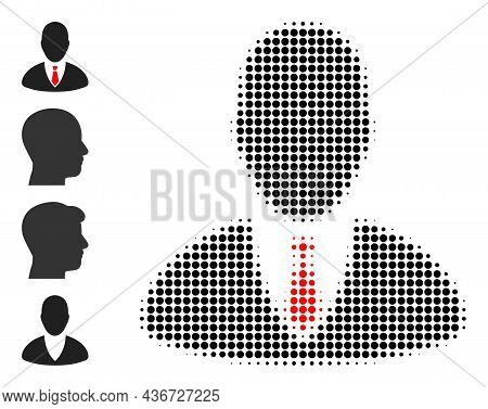 Dotted Halftone Manager Icon, And Additional Icons. Vector Halftone Composition Of Manager Icon Comp